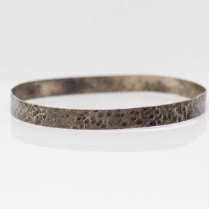 VINTAGE Sterling Dainty Hammered Bangle Bracelet 8